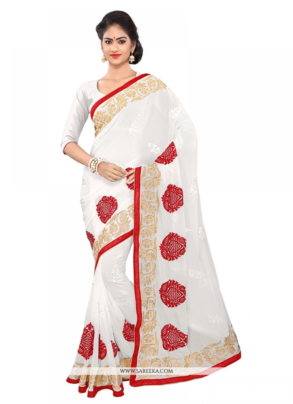 White Weight Less Casual Saree