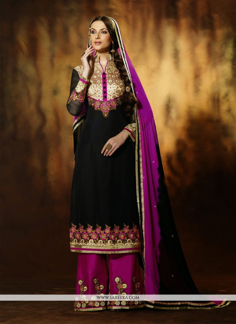 Asthetic Black Art Silk Palazzo Salwar Suit