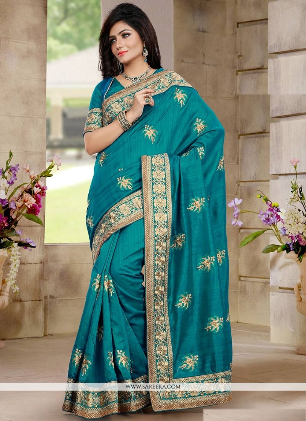 Asthetic Teal Green Bhagalpuri Silk Saree
