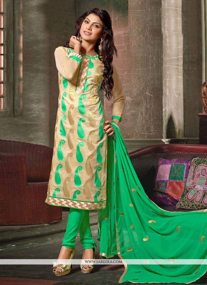 Beige Embroidered Work Chanderi Churidar Designer Suit