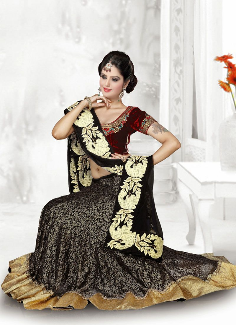 Black And Maroon Resham Work Net Lehenaga Choli