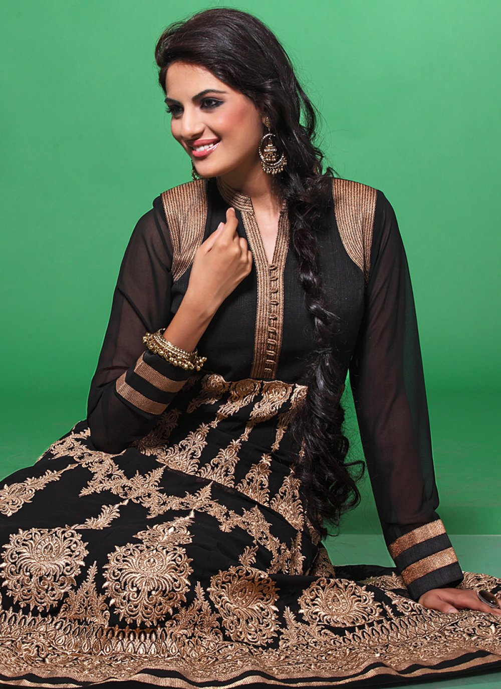 Black Zari Work Net Anarkali Suit
