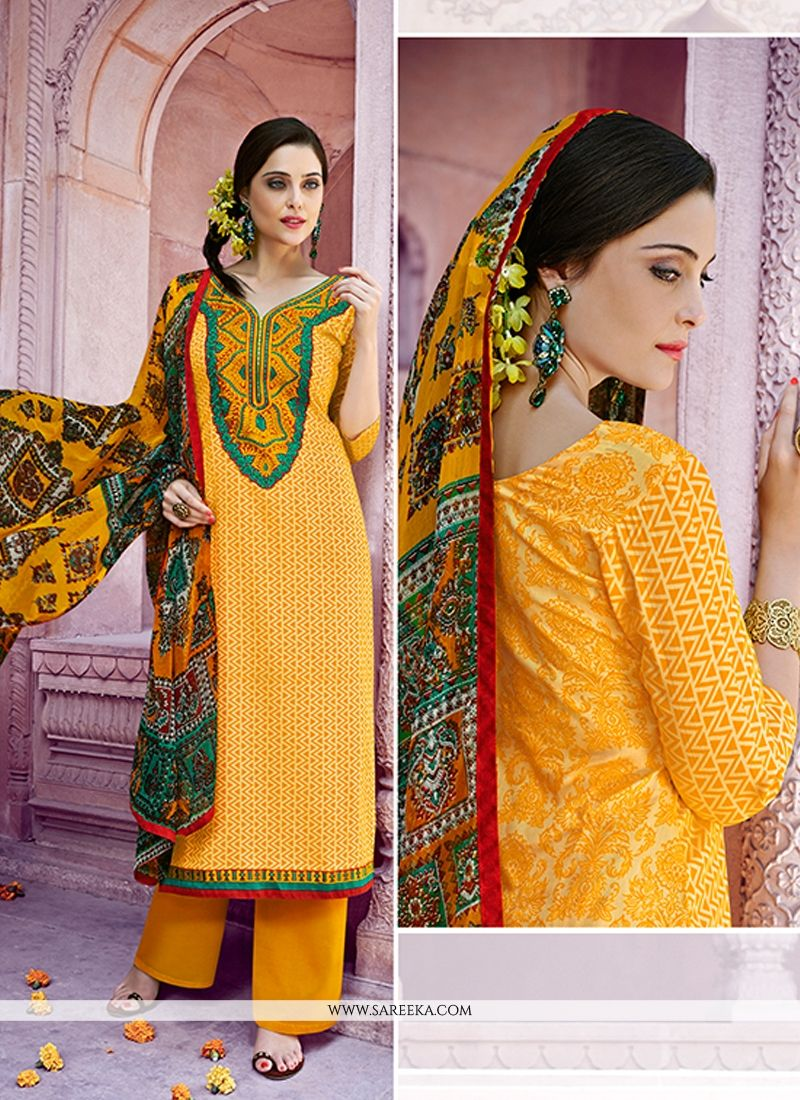 Embroidered Work Cotton   Yellow Designer Pakistani Suit