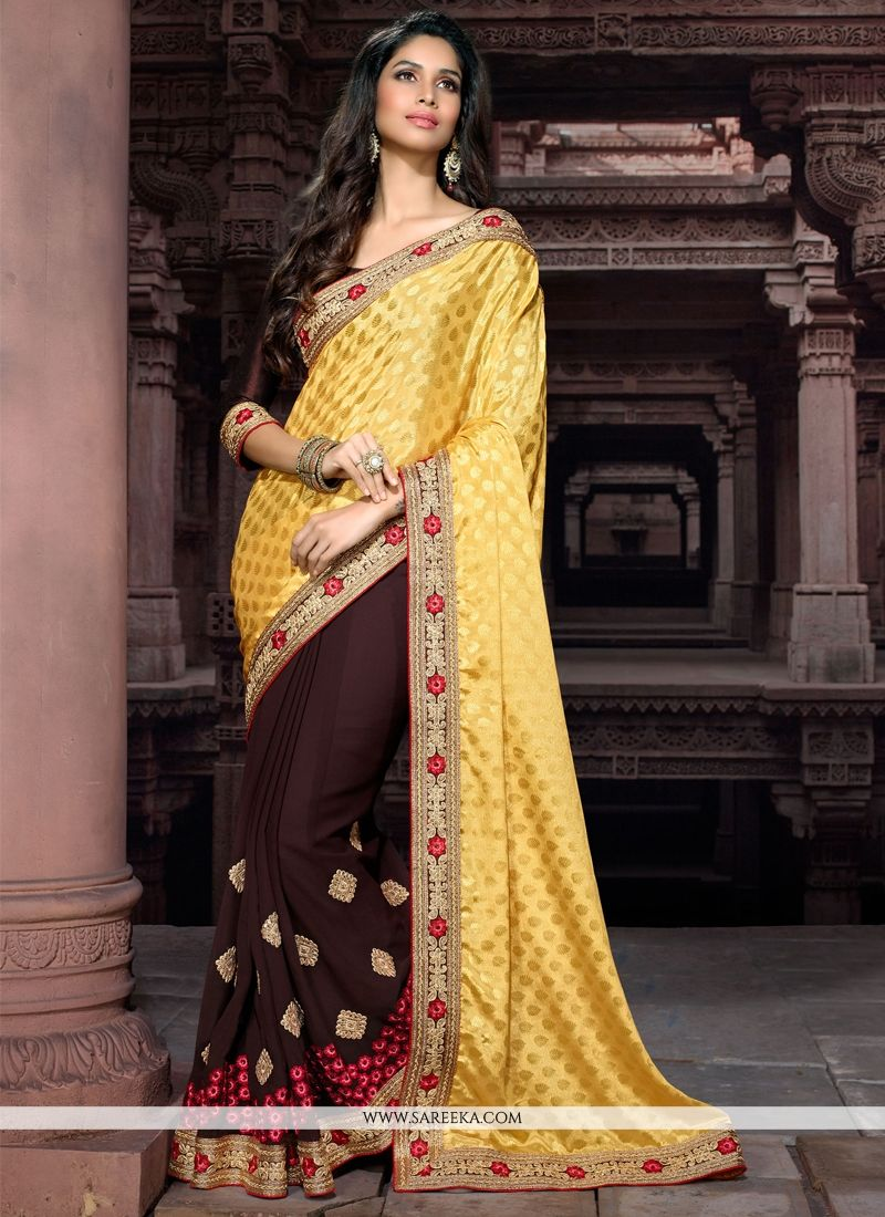 Georgette Brown and Yellow Embroidered Work Designer Saree