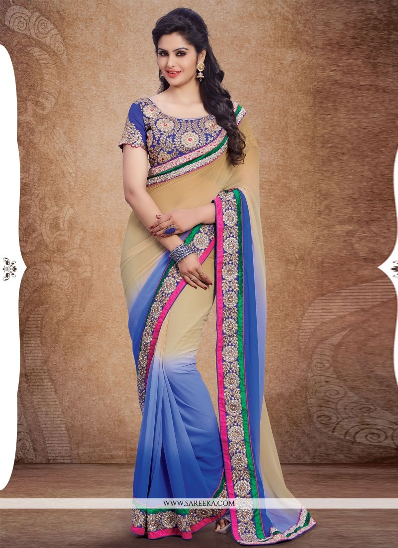Georgette Cream and Blue Designer Saree