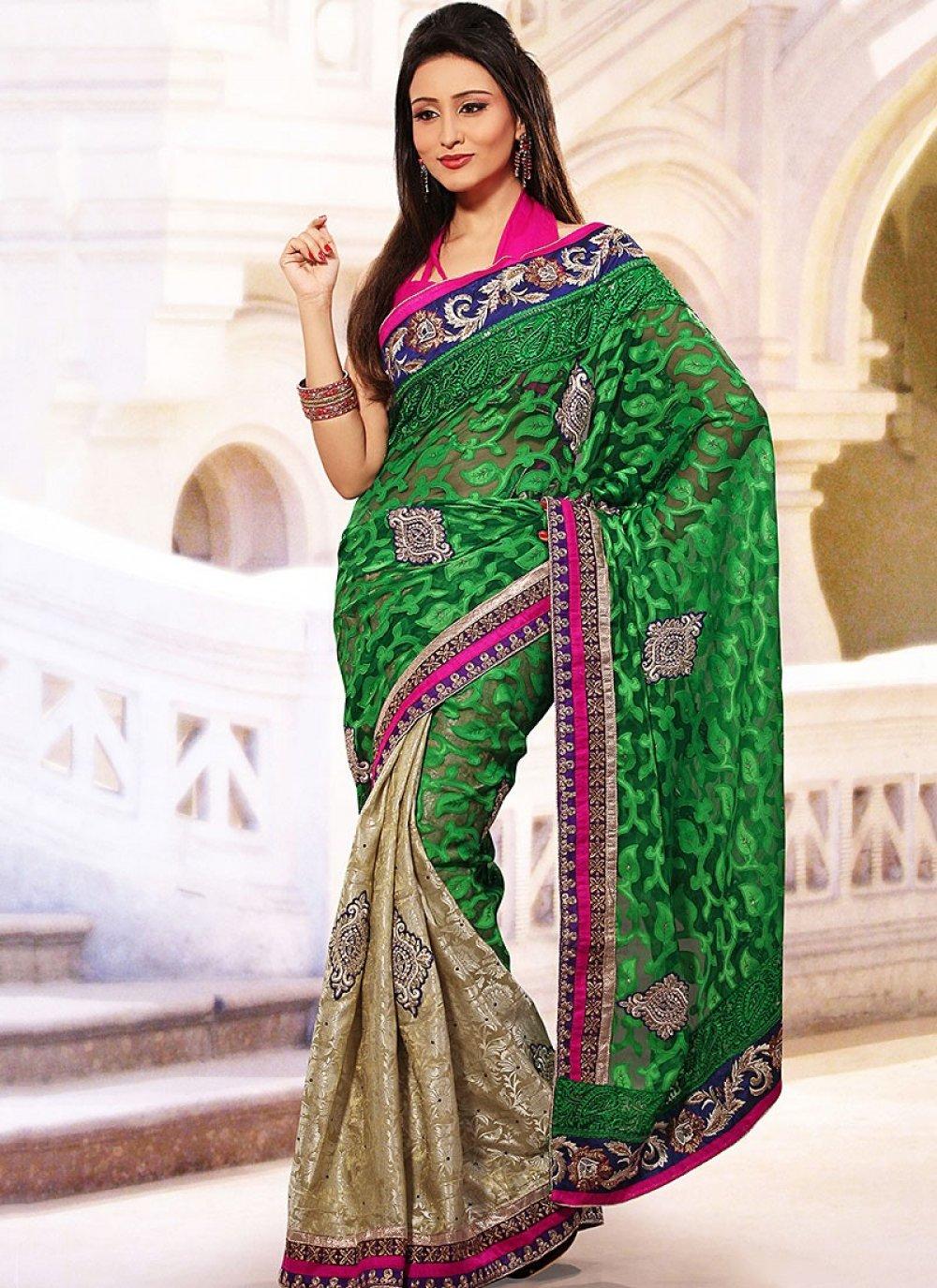 Green Net Jacquard Half And Half Saree