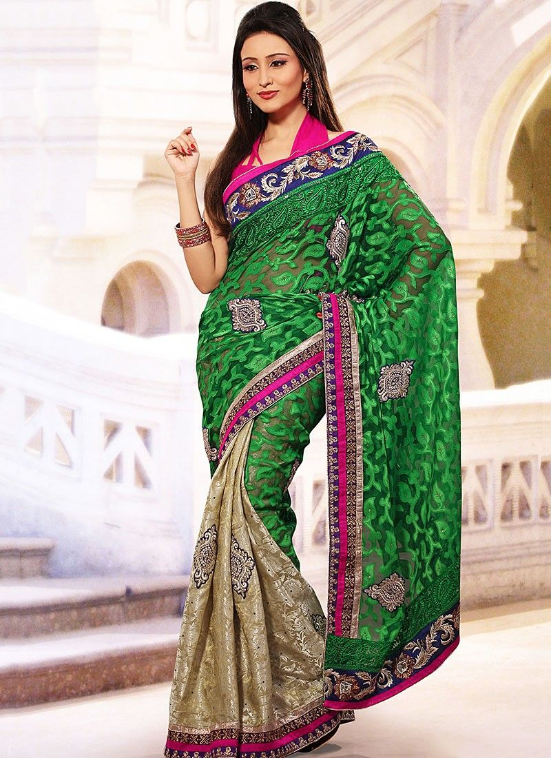 Green Net Jacquard Half And Half Saree
