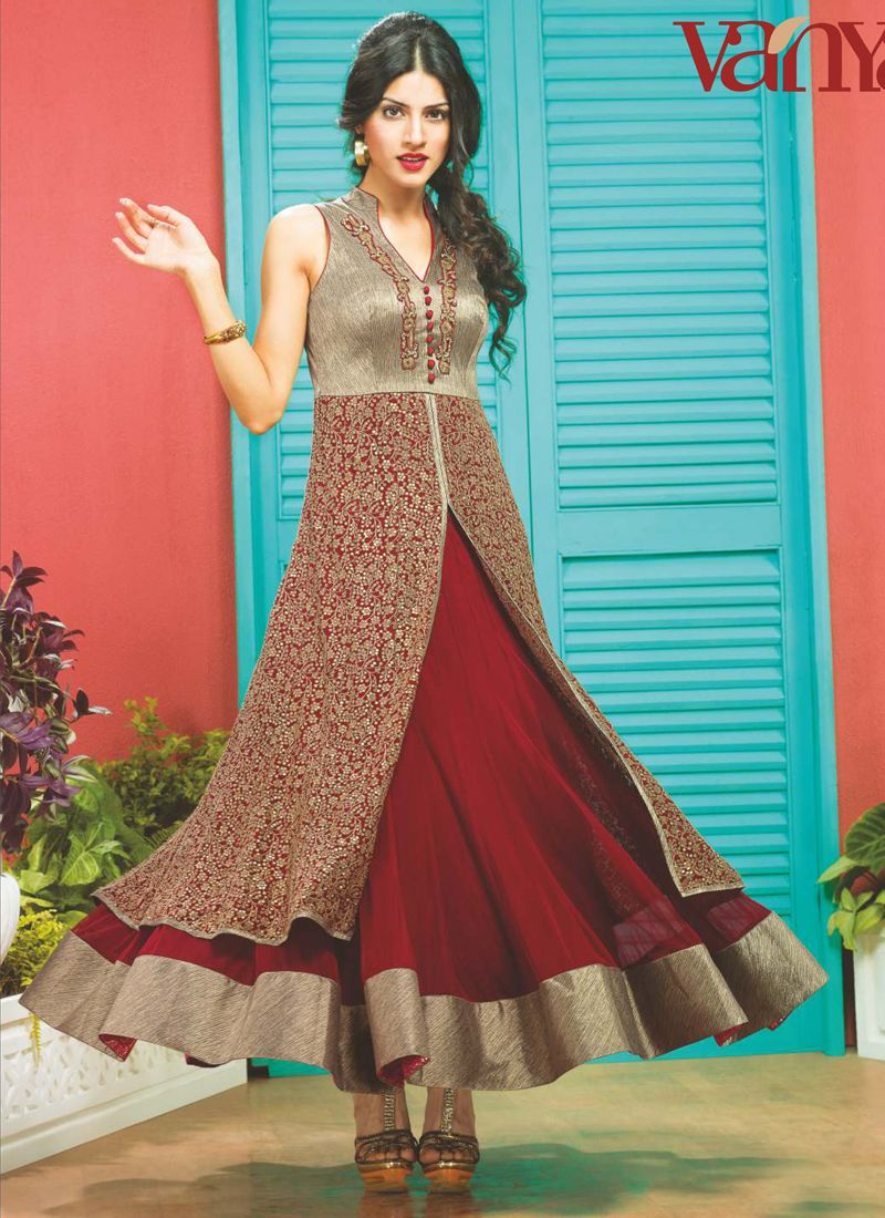 Maroon Embroidery Designer Suit