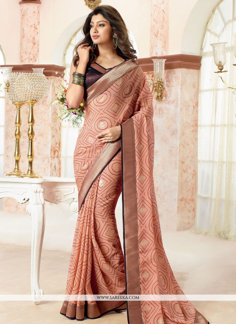 Print Work Faux Chiffon Casual Saree