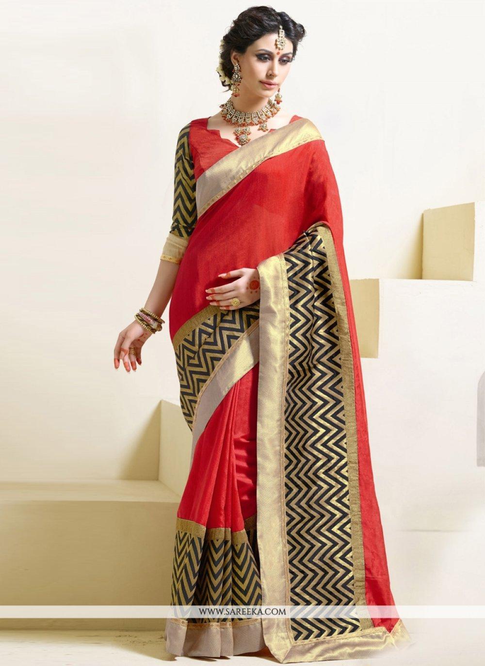 Red Art Silk Designer Saree