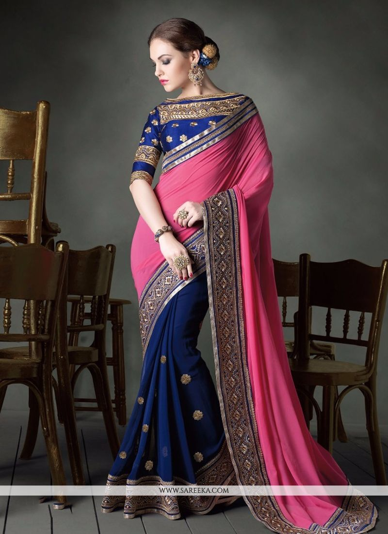 Resham Work Hot Pink and Blue Designer Saree