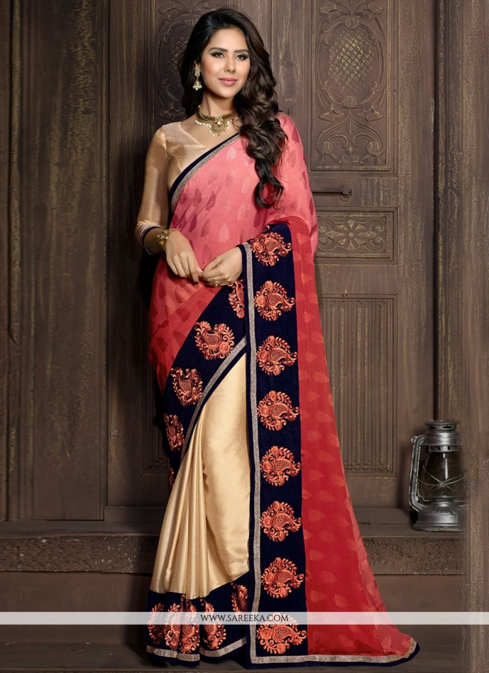 Velvet Embroidered Work Designer Saree