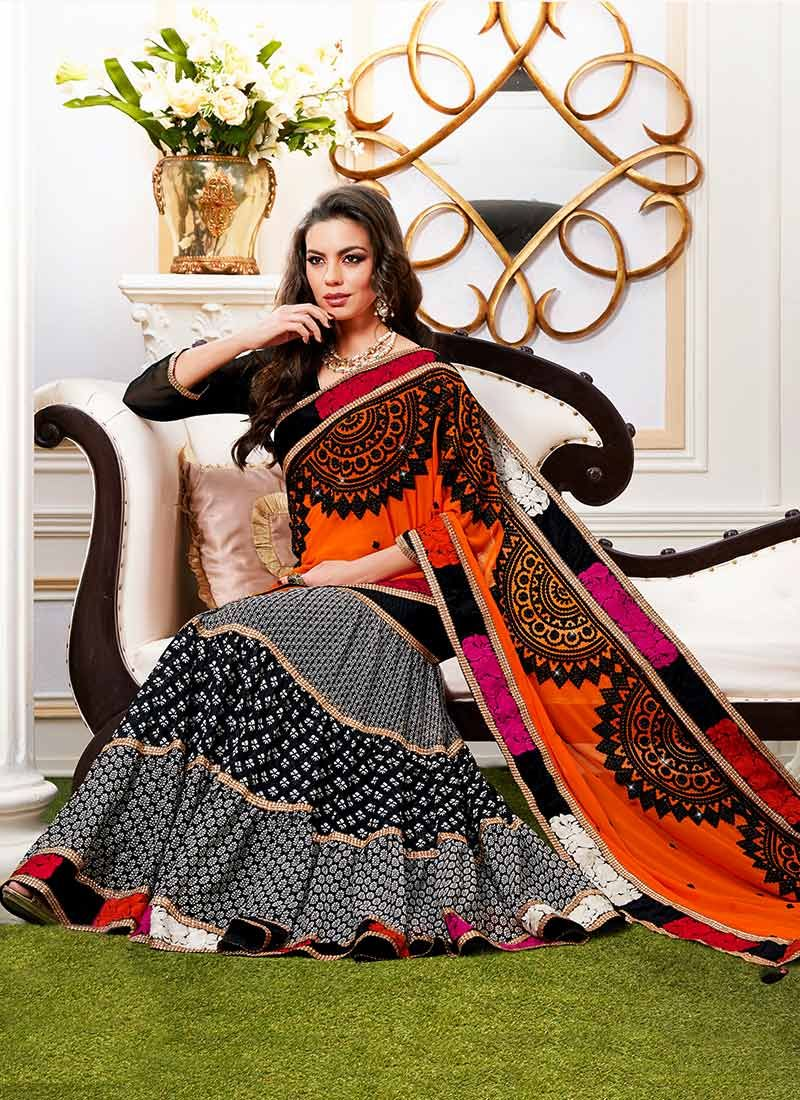 Black And Orange Georgette Lehenga Saree