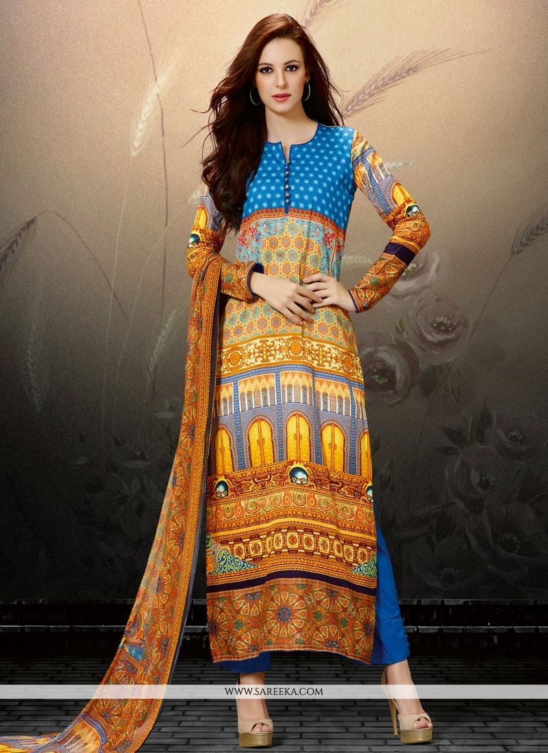 Digital Print Work Cotton Satin Multi Colour Designer Straight Salwar Kameez