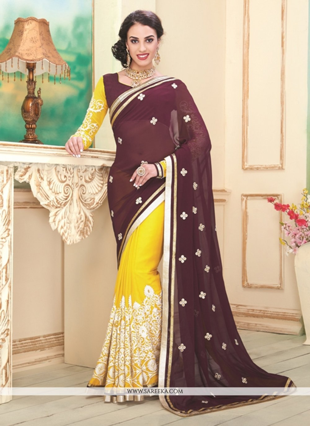 Embroidered Work Brown and Yellow Georgette Designer Saree