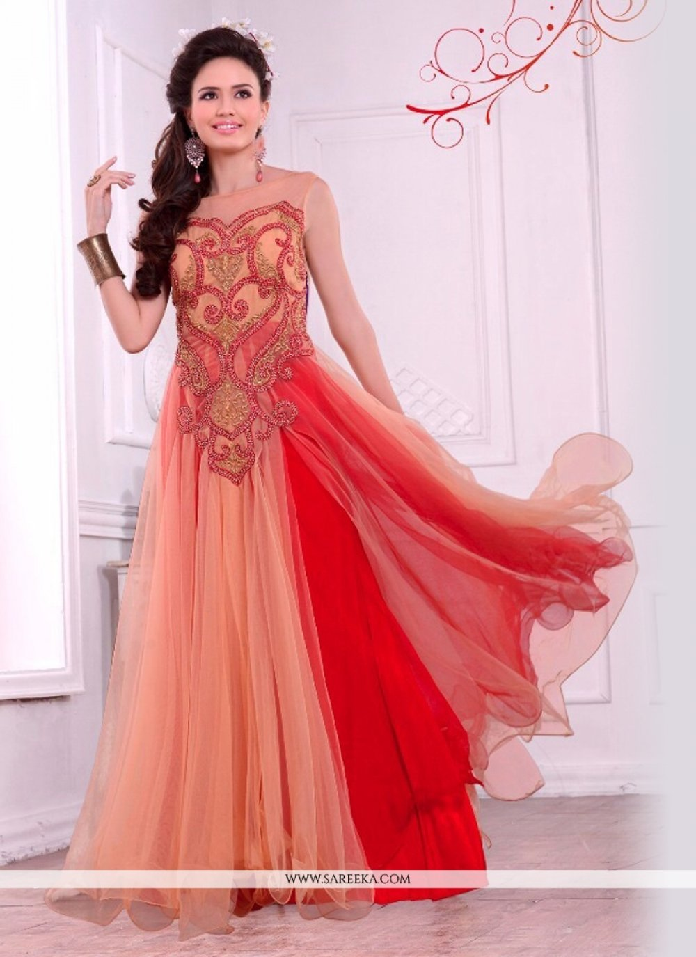 Embroidered Work Net Gown