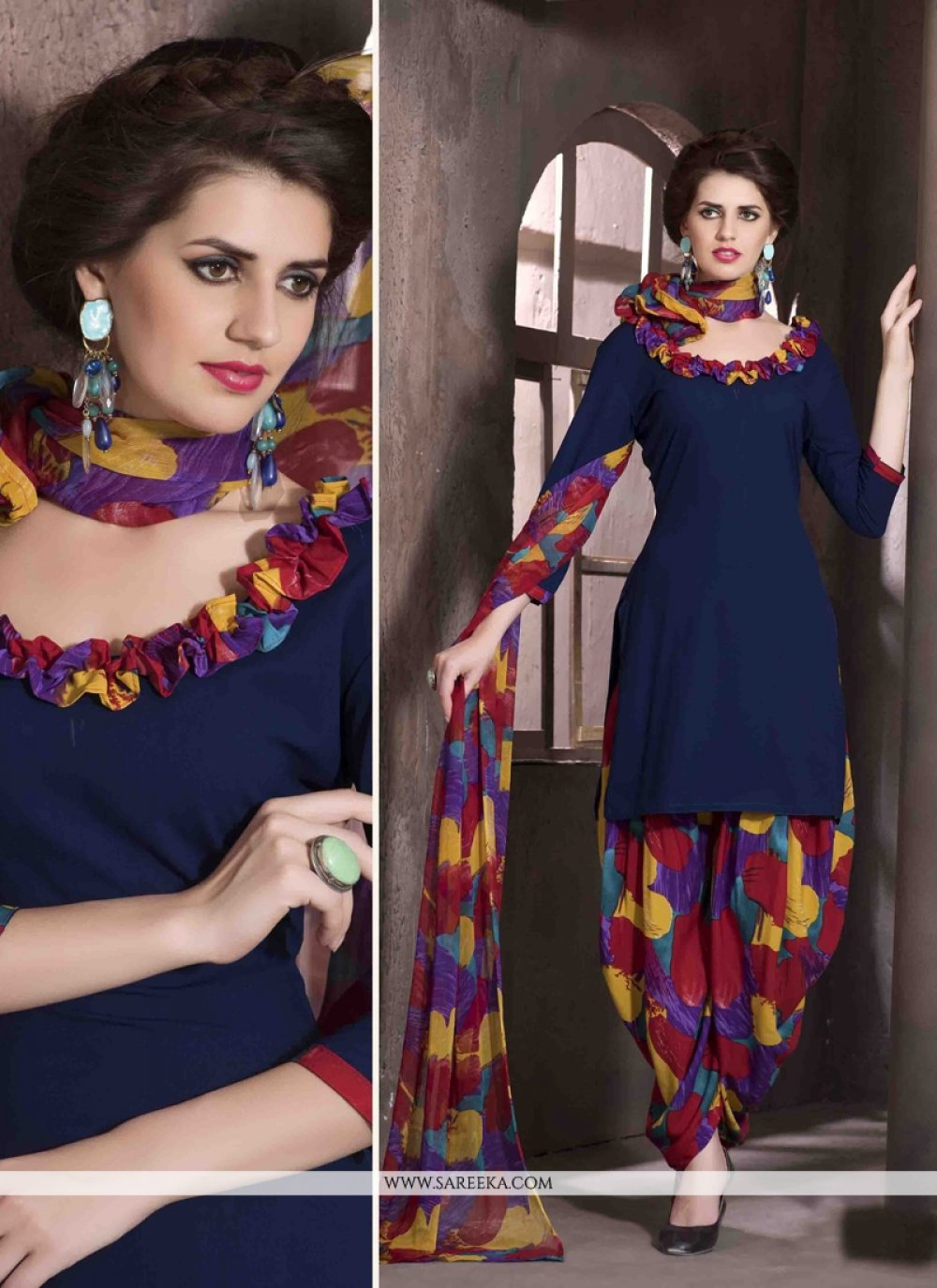 Faux Crepe Navy Blue Print Work Designer Patiala Salwar Kameez