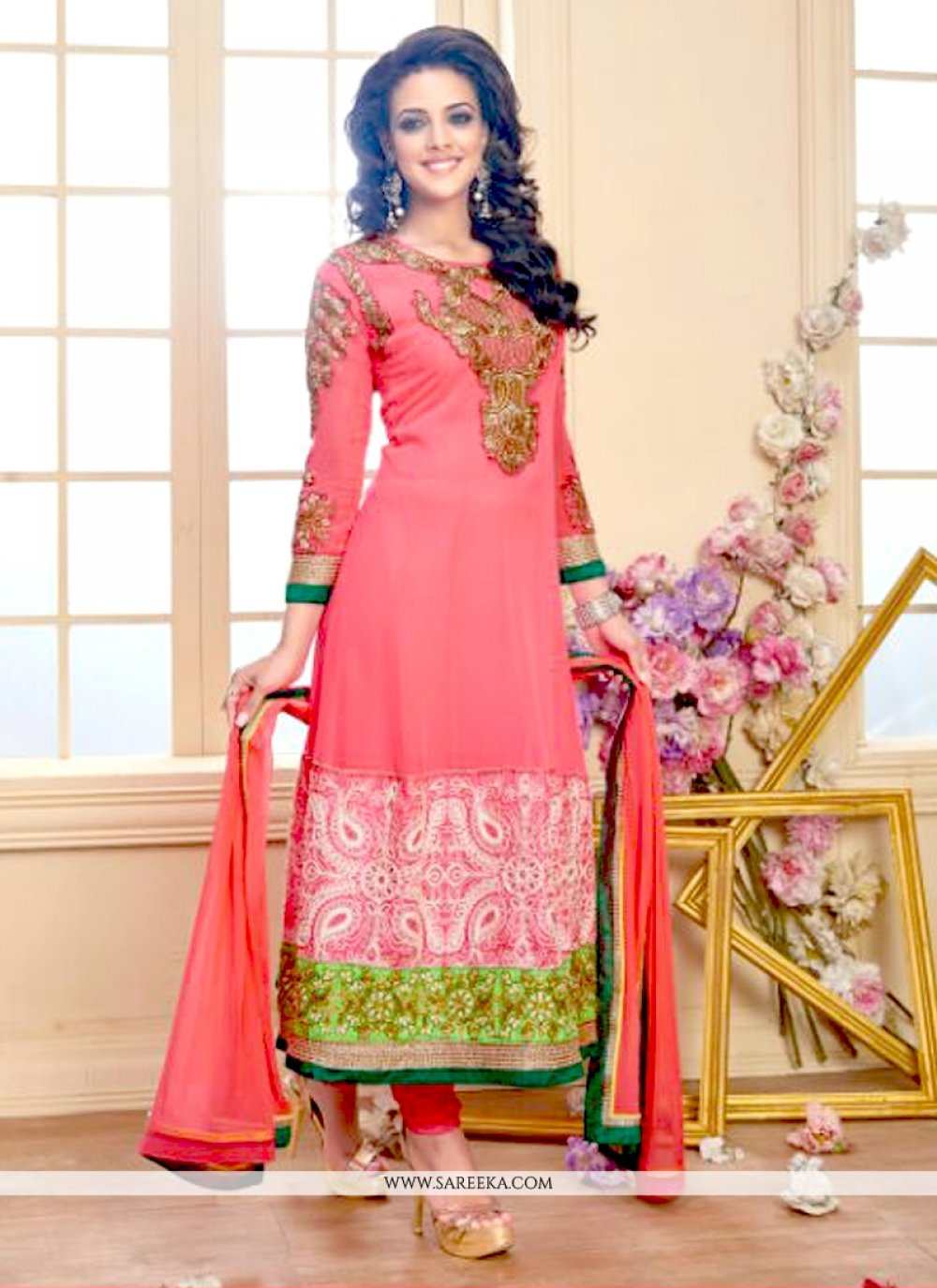 Georgette Hot Pink Anarkali Salwar Kameez