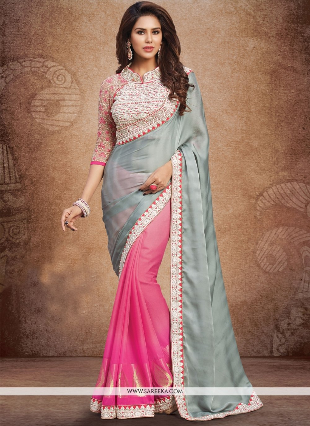 Hot Pink and Grey Georgette Designer Saree