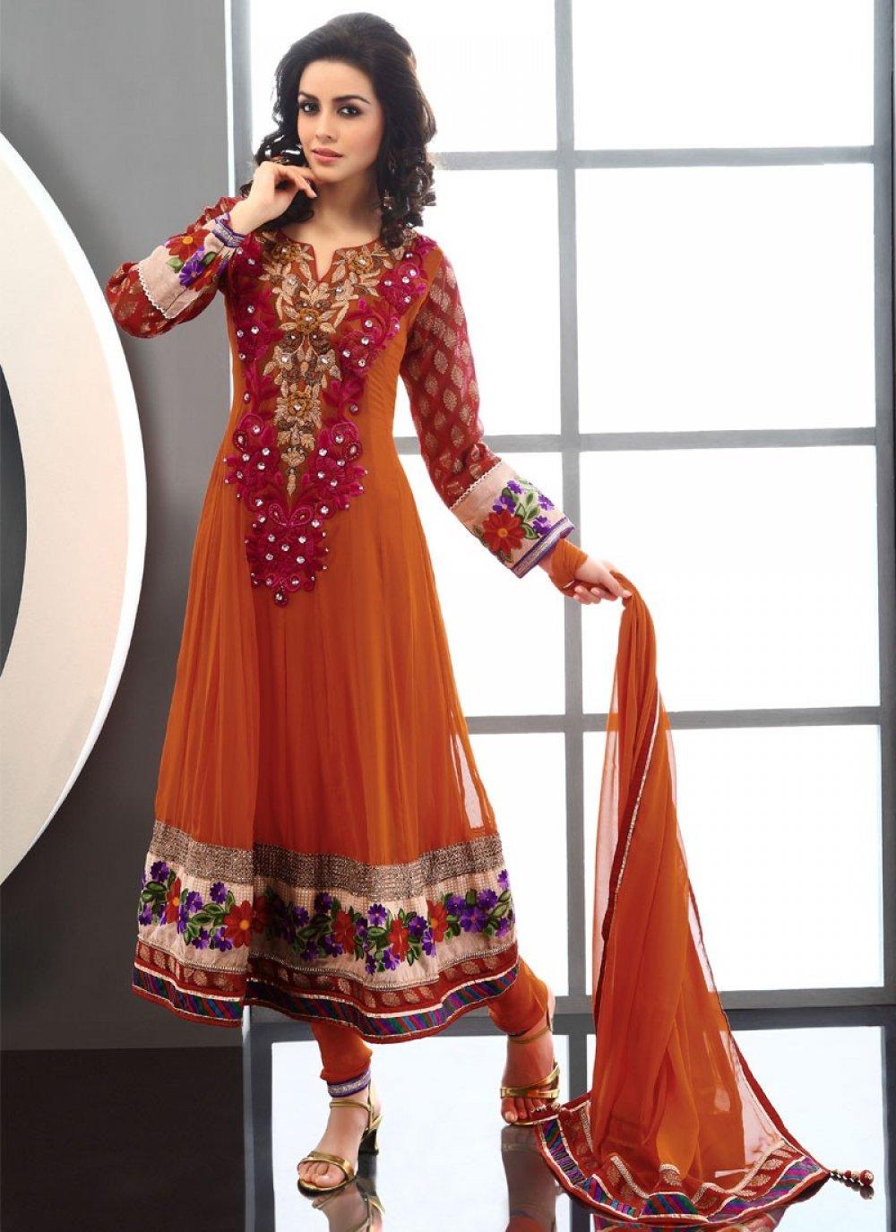Orange Viscose Churidar Suit
