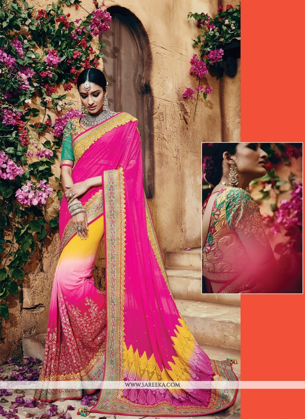 Patch Border Work Net Classic Designer Saree
