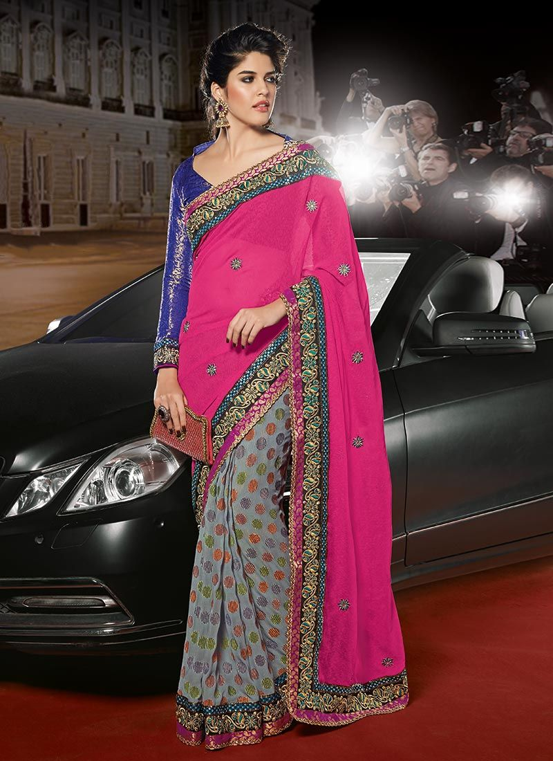 Pink Georgette Half And Half Saree