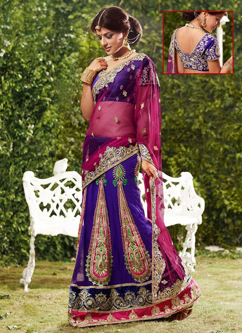 Purple Net Lehenga Saree