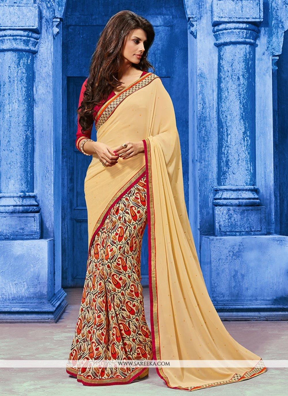 Weight Less Beige Designer Saree
