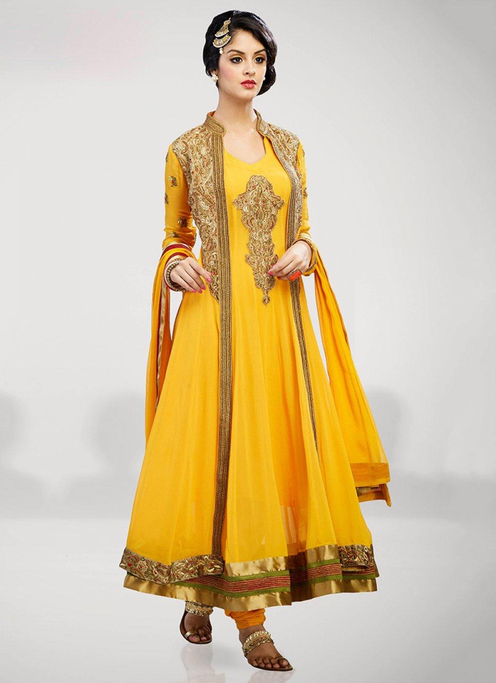 Yellow Embroidery Net Anarkali Suit