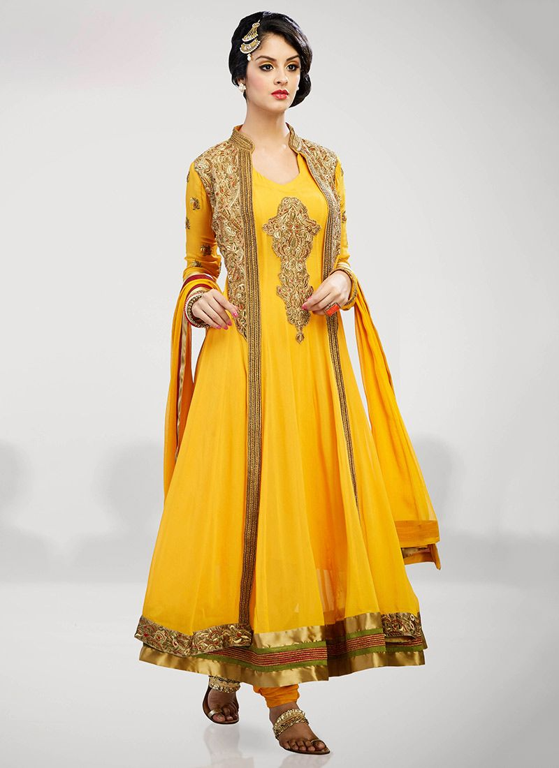 Yellow Embroidery Net Anarkali Suit