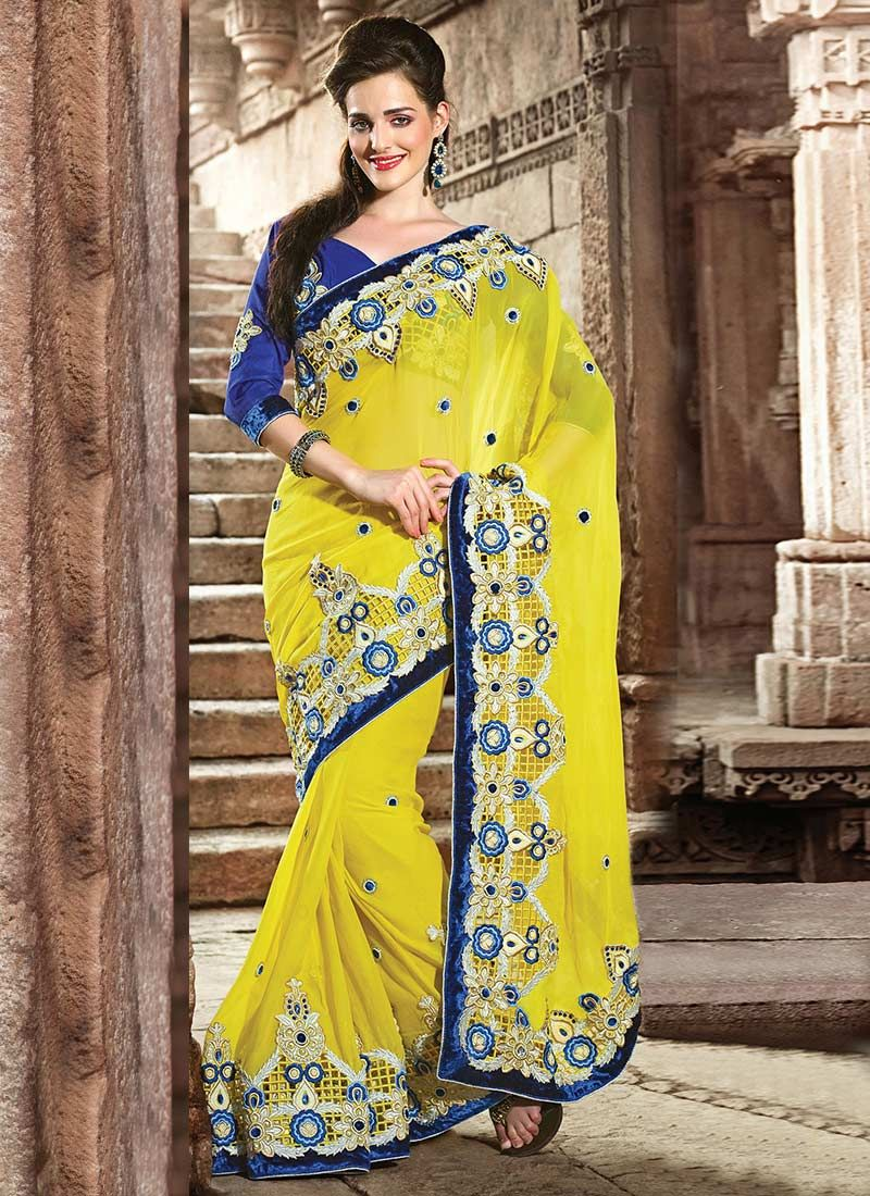 Yellow Georgette Designer Saree