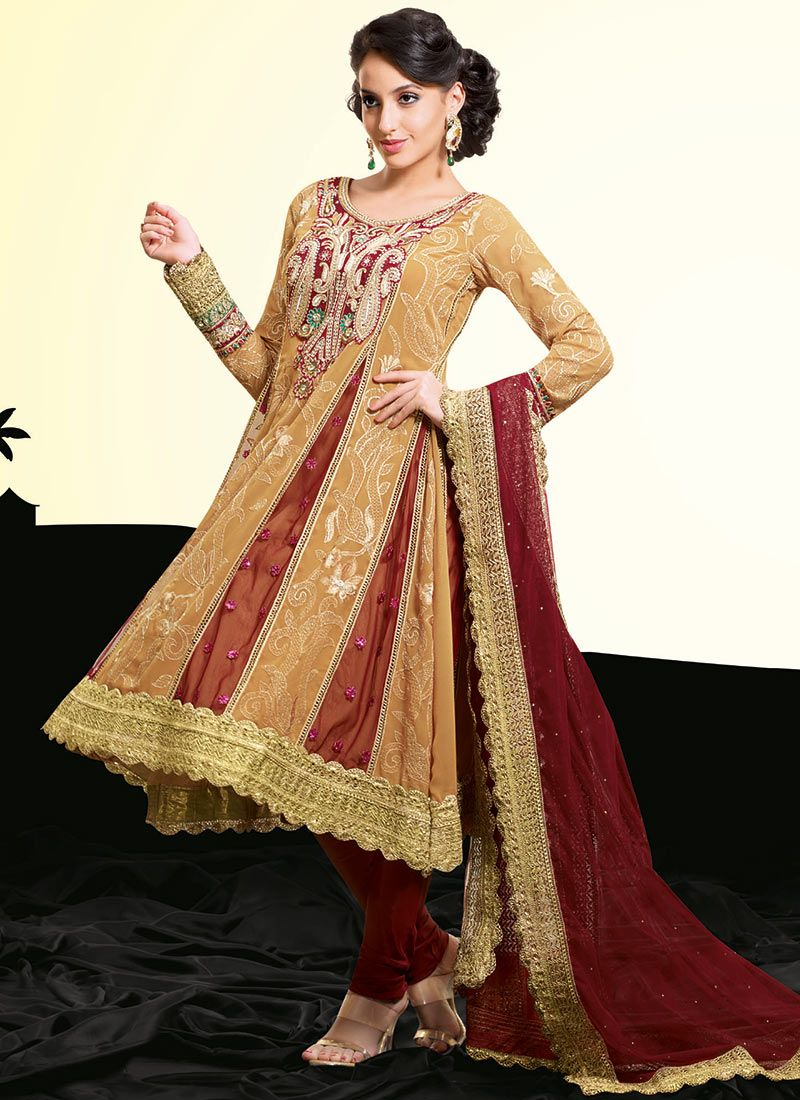 Beige and Maroon Georgette Churidar Suit