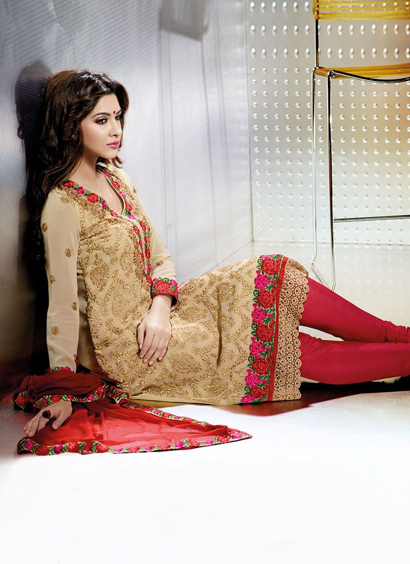 Beige And Red Satin Churidar Suit