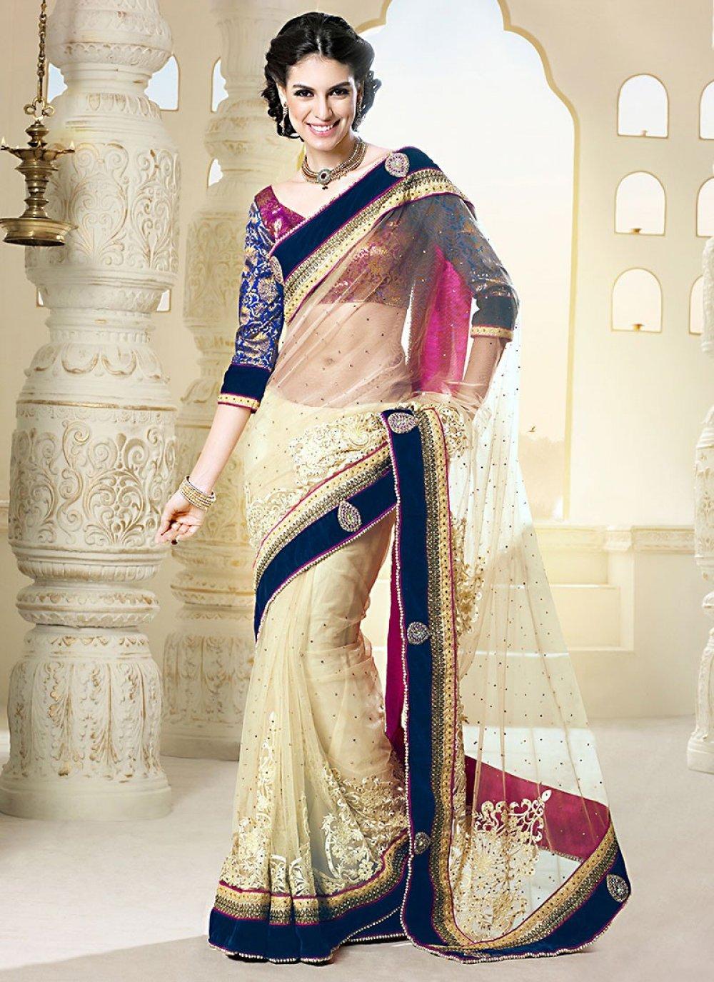Beige Pure Net Designer Saree