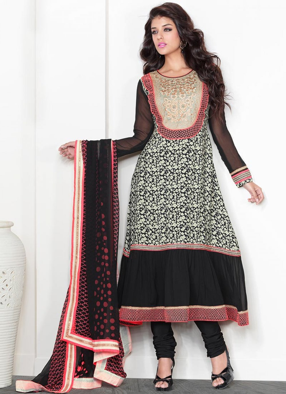 Black And White Crepe Churidar Suit