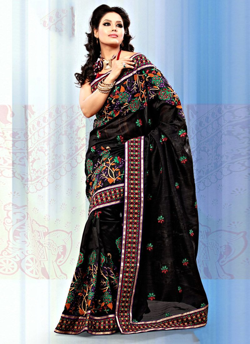 Black Art Bhagalpuri Silk Saree