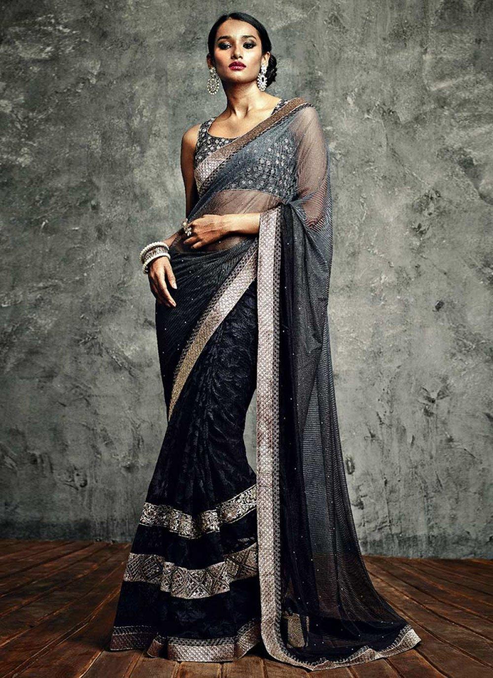 Black Crystals Net IIFA Enhanced Designer Saree