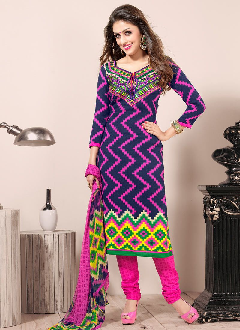 Blue And Pink Creap Churidar Suit