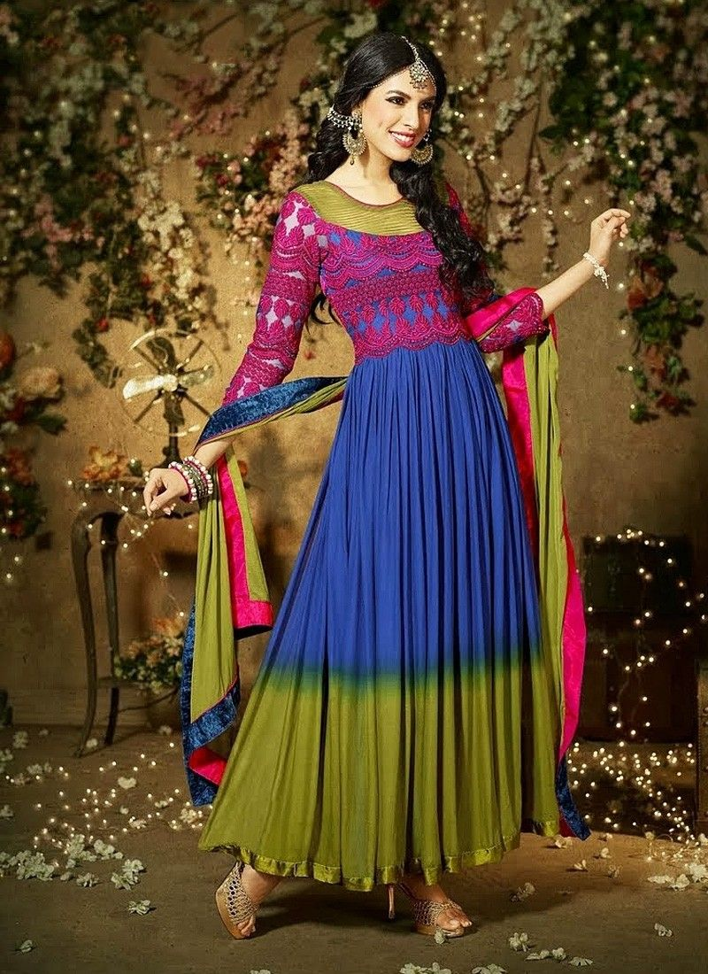 Blue Faux Georgette Anarkali Suit