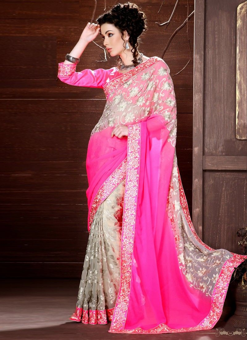 Brasso Georgette Magenta And Grey Half And Half Saree