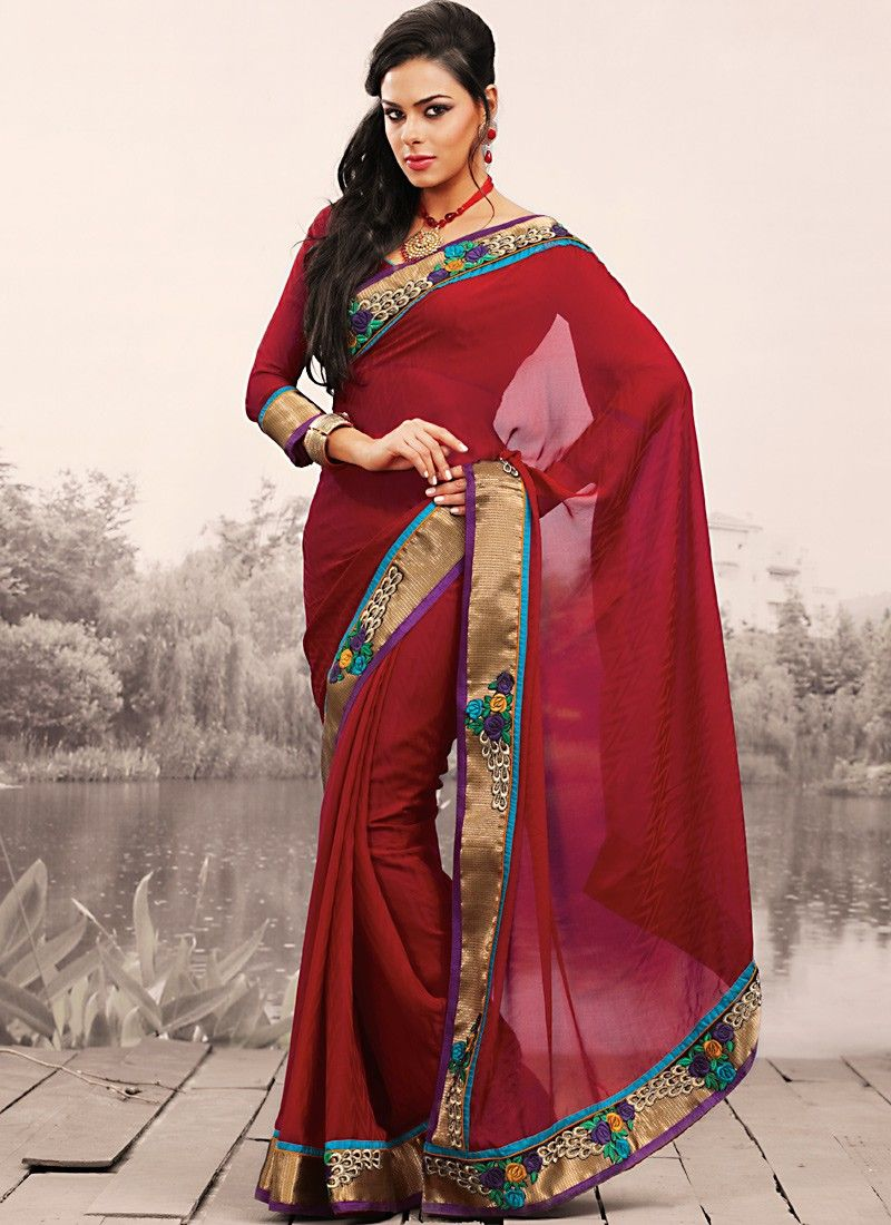 Burgundy Embroidered Saree
