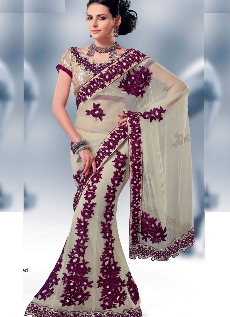 Cream Embroidered Net Saree