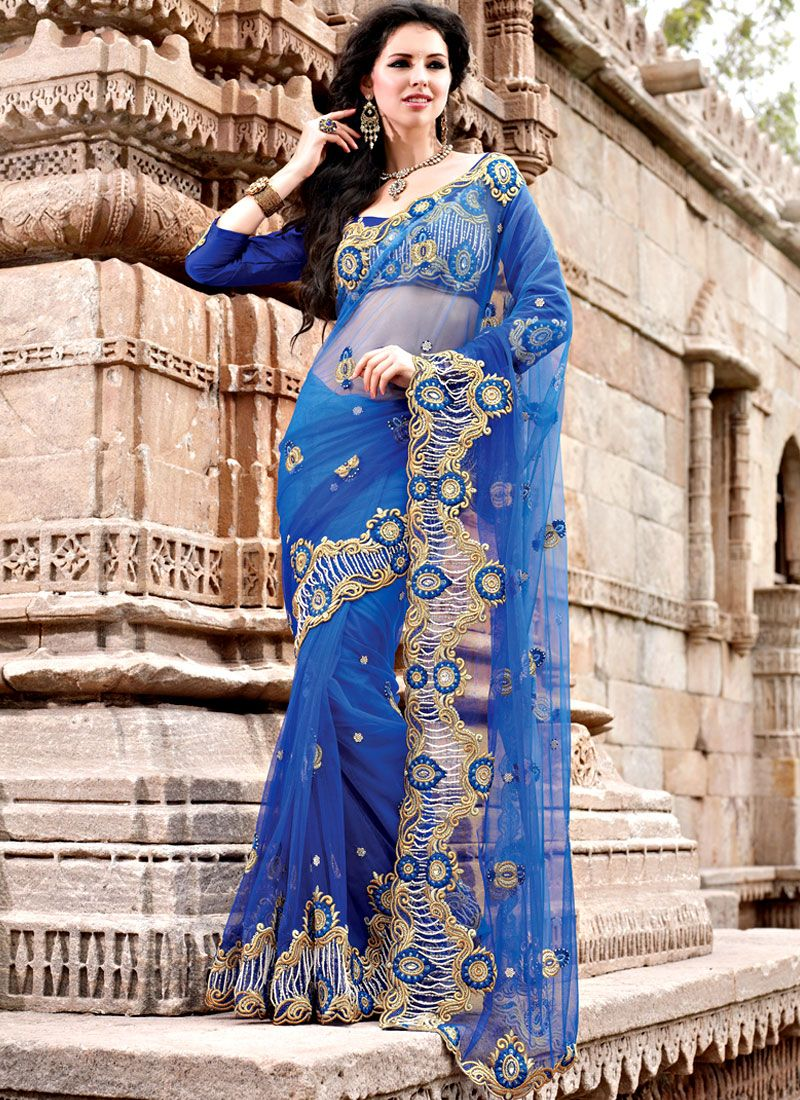 Cut Work Net Scallop Border Saree