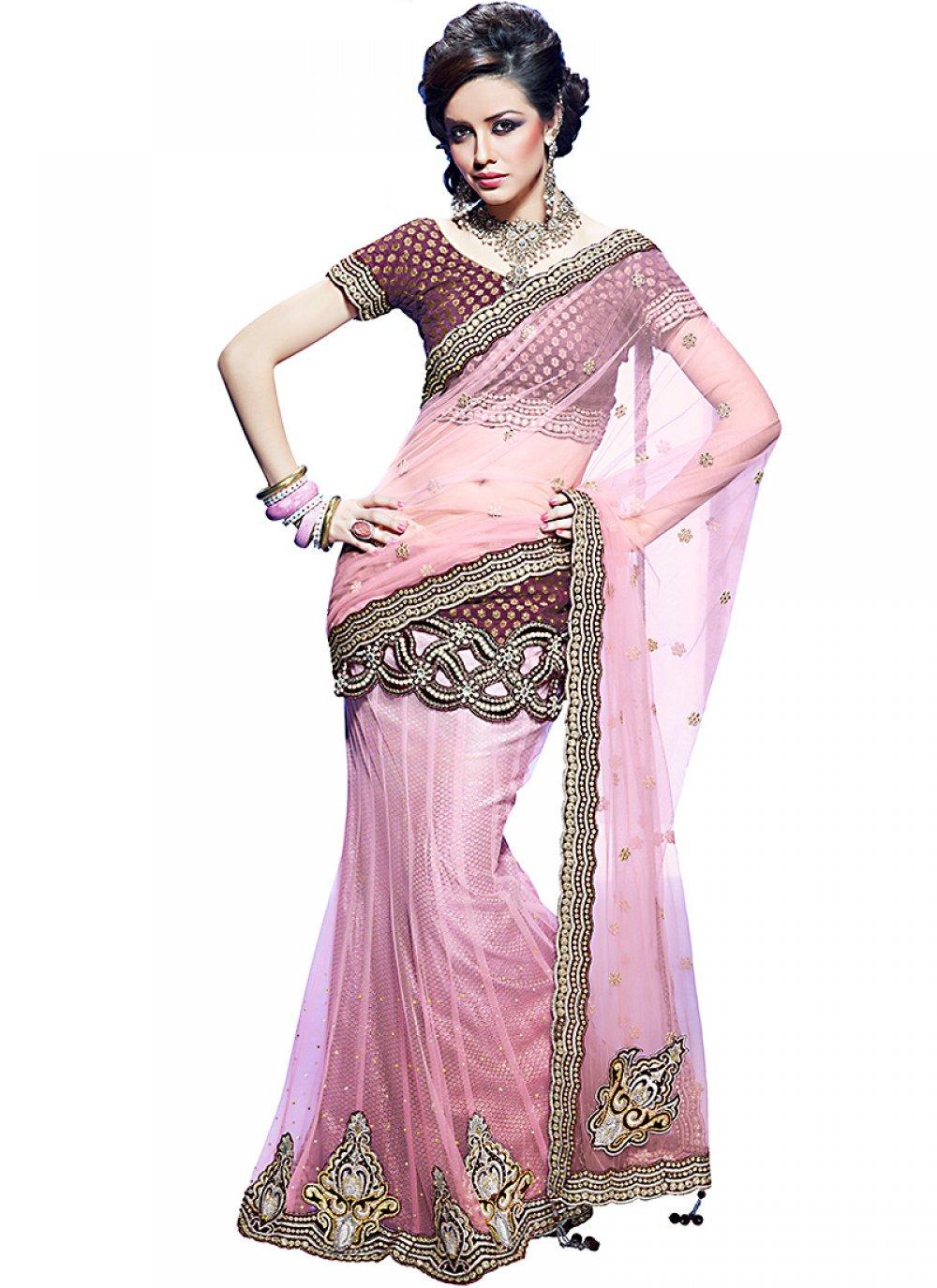 Deep Pink Embroidered Saree