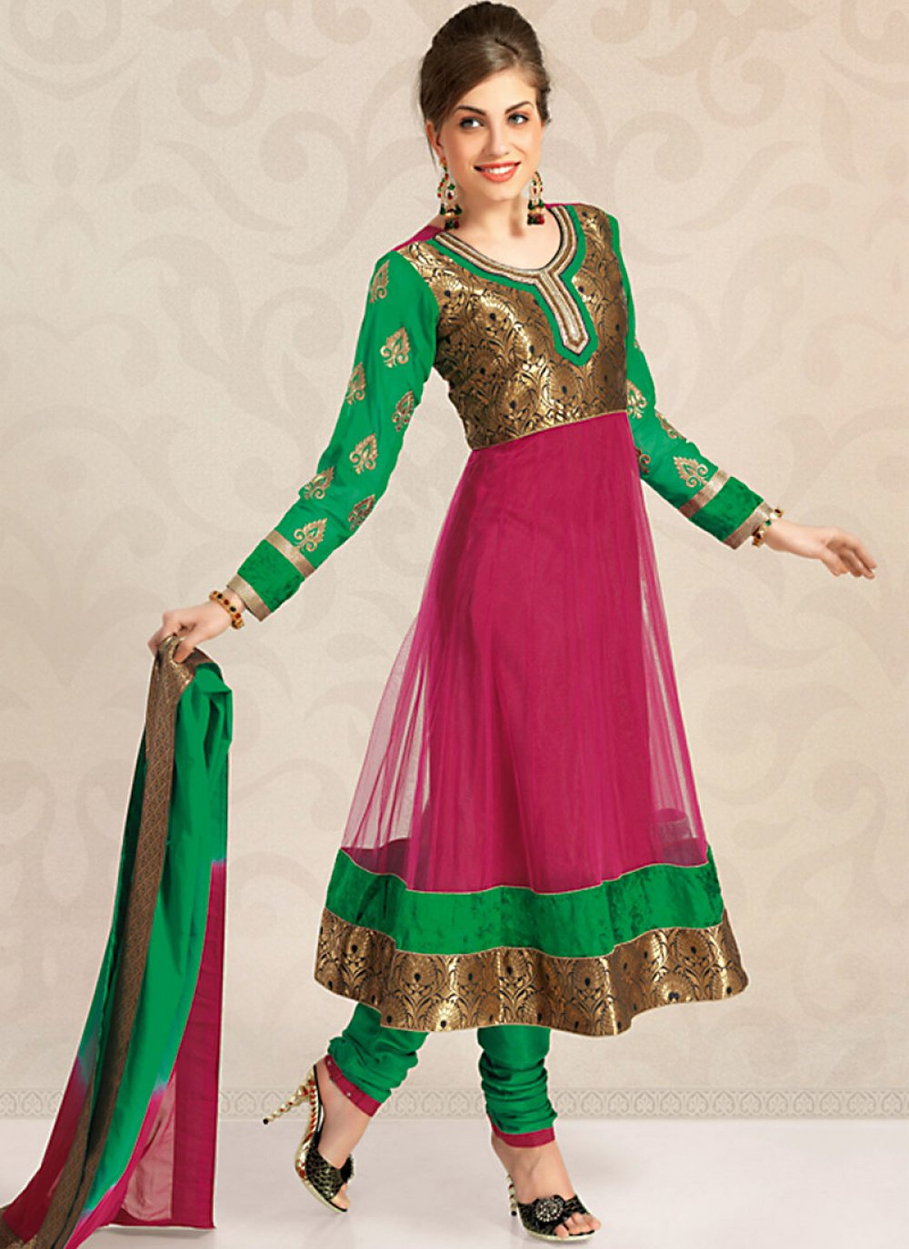 Emerald Green & Fuchsia Salwar Kameez