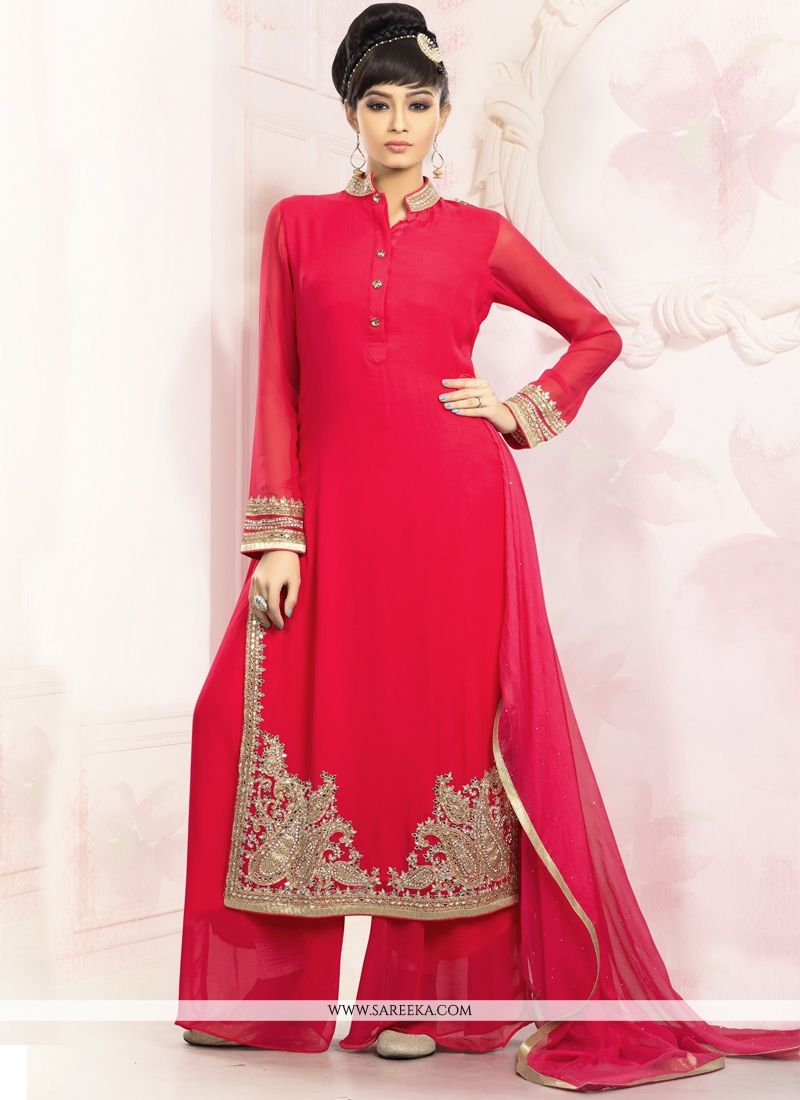 Faux Georgette Red Designer Palazzo Salwar Suit