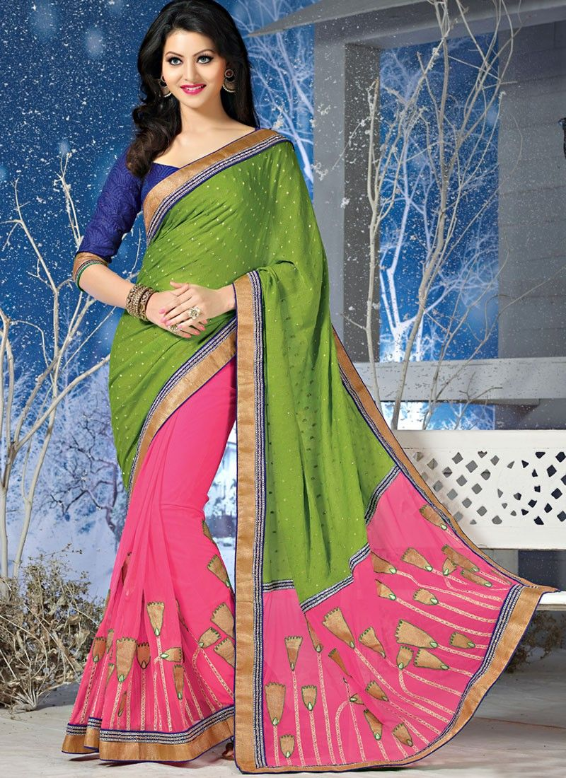 Green And Pink Patch Border Viscose Saree