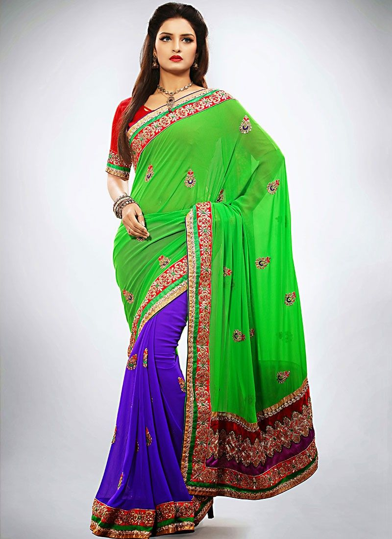 Green Georgette Half And Half Saree