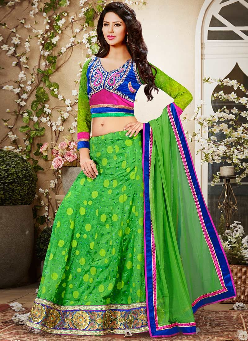 Green Viscose Lehenga Choli
