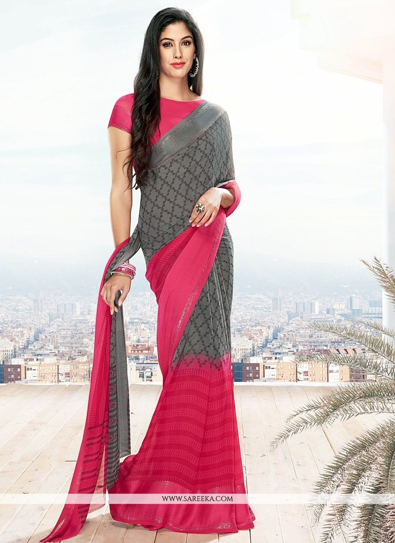 Grey and Hot Pink Lace Work Georgette Casual Saree